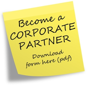 Picture of yellow sticky note with text Become a Corporate Partner