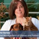 Dr. Gina Davis of the UC Davis Community Practice Service with her dog and cat outside the Center or Companion Animal Health